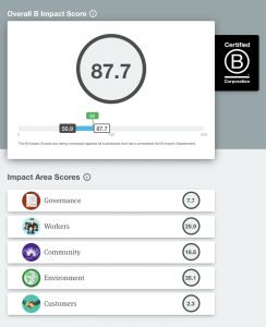 The B Corp Impact Score assesses five key areas of CSR performance