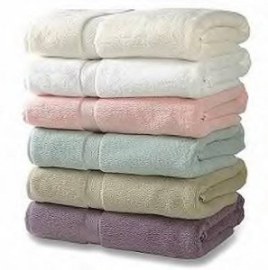 A stack of colored towels after laundry