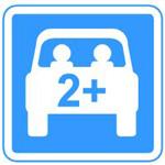 2+ written on rear of car