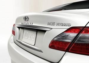 White Hybrid Car Infiniti
