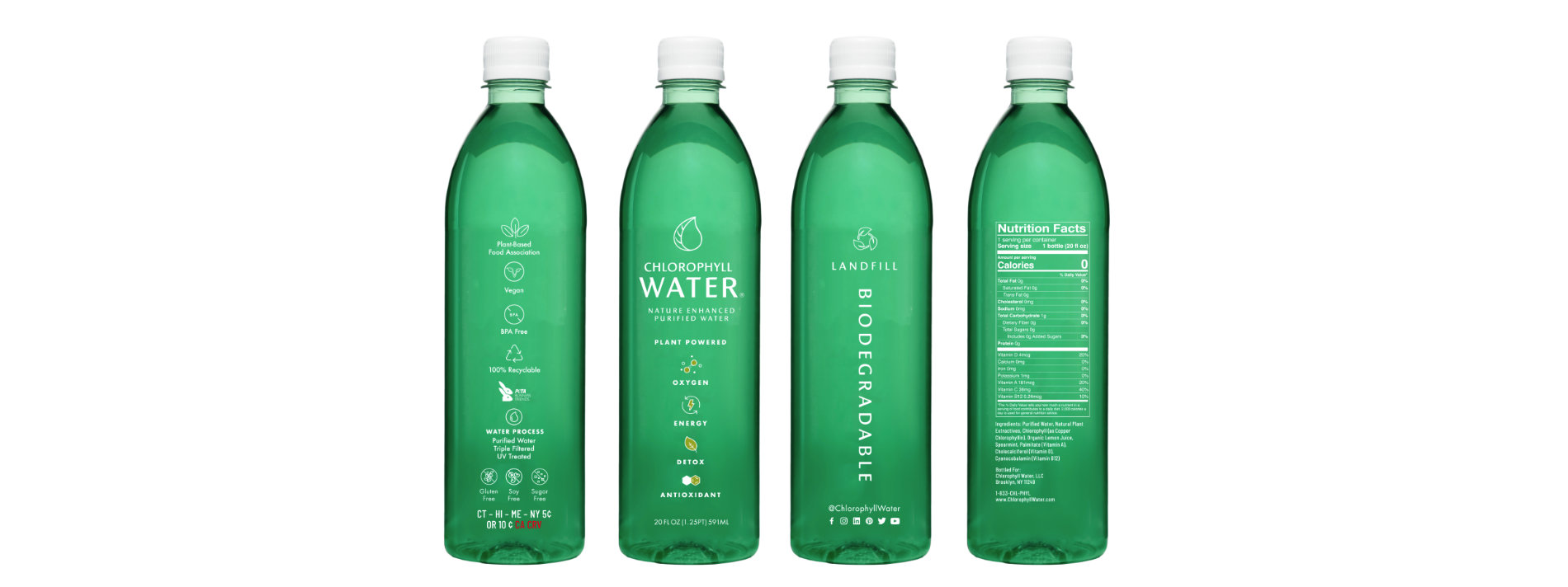 Chlorophyll Water Introduces Landfill Biodegradable Bottles